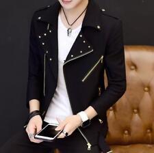 Mens Lapel Zipper Slim Rivets Short Coats Korean Tops Fall Jackets Outdoor size
