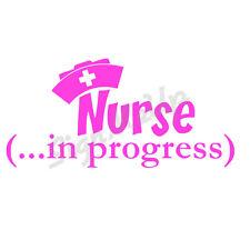 """Nurse In Progress 7""""x3.5"""" Cute Vinyl Window Sticker RN Med School Decal for Car"""