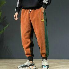 Mens Corduroy Harem Pants Tapered Trousers Splice Loose Two Toned Retro Retro