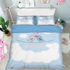 3D Bird Cloud Child 8 Bed Pillowcases Quilt Duvet Cover Set Single Queen King CA