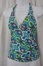 Mudd 5610KM Blue Green Pink Black Bust Embellish Tankini Swimsuit Top MSRP $32