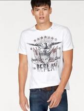 REPLAY Maglietta T-Shirt Uomo Bianca Stampa con Logo 100% Cotone Scollo Rotondo