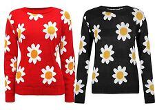 New Ladies Flower Print Winter Knit Wear Sweat Shirt Jumper Tops 8-14
