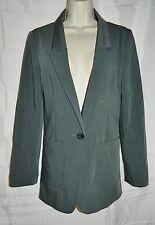 H & M Blazer Stretch Button Front Gray Jacket size 8