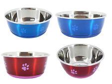 Cheeko Anti slip Stainless Steel Fusion Dog Bowl, 3 sizes, 2 colours,rubber base