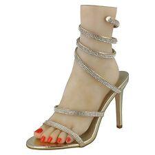 Anne Michelle F10584 Ladies Gold Diamante Ankle Straps Strappy Sandals