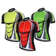 Herren Kurzarm Radtrikot Fahrrad Bekleidung Trikot Cycling Jersey Grün/Gelb/Rot