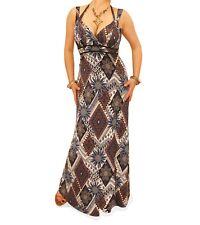 NUEVO Azul Marino & Moca étnico vestido largo estampado