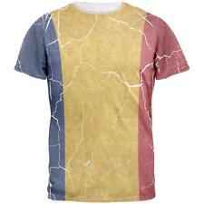 Distressed Romanian Flag Mens T Shirt