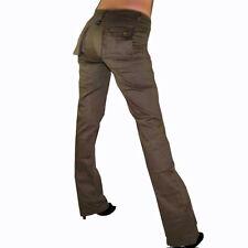 Damen Jeans Jeanshose Hose lang Cargo Style Knopf Reißverschl. 32 34 36 38 braun
