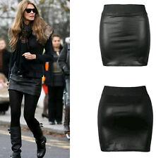 Womens Ladies Black Wetlook Leather Look elasticated waist tube mini skirt 8-26