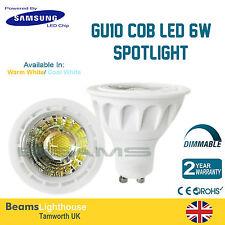 Chip GU10 de LED de Samsung 6W 120 ⁰ COB LED Frío/Caliente Blanca Lámpara Bombilla Downlight 6W = 50W