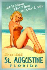 St AUGUSTINE Florida New Atlantic Ocean Beach Poster Beach Pin Up Art Print 205