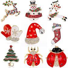 Fashion Christmas Hat Crystal Rhinestone Enamel Brooch Pin Women Xmas Jewelry