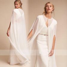White Ivory Wedding Cape Chiffon Long Floor Length Bridal Shawl Jacket Plus Size