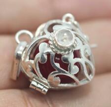 Handmade Sterling Silver .925 Heart/Filigree Harmony Chime Ball Pendant w Gem.