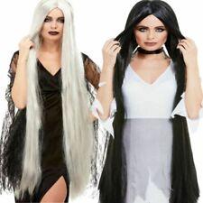 Morticia 120cm Long Straight Wig Black Or Grey Wig Halloween Fancy Dress Accesso