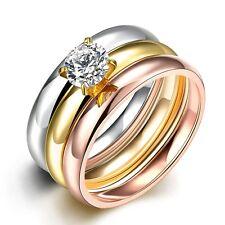 Classic 316L Titanium Steel 3 Tone 3 Ring Sets CZ Woman ring Size7, 8 R-A314
