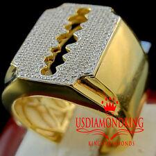 BIG BOLD REAL GENUINE DIAMOND MENS RAZOR BLADE RING BAND 10K YELLOW GOLD FINISH