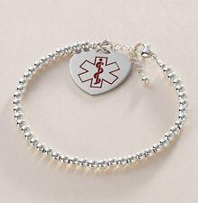 Sterlingsilber perlenbesetzt Medizinisches Notfall Armband, SOS Schmuck