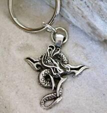 TRIBAL CROSS DRAGON Pewter KEYCHAIN Key Ring