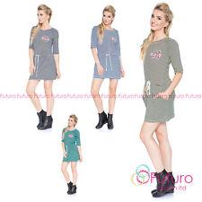 Ladies Striped Jumper Dress 3/4 Sleeve Crew Neck Mini Dress Sizes 8 - 14 6575