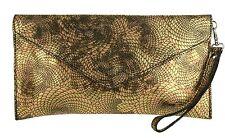 Italian Genuine Suede Snake Holographic Metallic Envelope Clutch Bag Wristlet