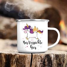 "Campingbecher Einhorn ""Nur Verrückte hier"" CB160 lustig Reise Kaffee Tee unicorn"