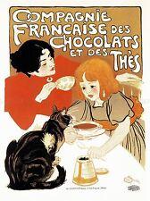 TEA CHOCOLATE DRINK PARIS FRANCE CAT VINTAGE RETRO ADVERTISING POSTER 1522PYLV