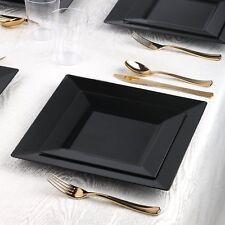 Black Plastic Square Plates Set Strong Disposable / Reusable Wedding Party  10pk