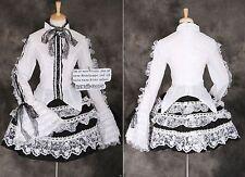 Punta m-3296 NERO BIANCO GOTHIC STEAM PUNK LOLITA Camicia Rock Cosplay Costume