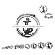 Túnel bollos piercing oreja Double Flare rosca anclaje schraaubbar 4mm - 25mm