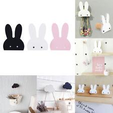 Wooden Cloud/Rabbit Wall Hanger Sticker Holder Coat Hooks Kids Room Decoration