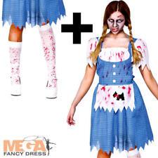 Zombie Dorothy + Stockings Fancy Dress Ladies Fairytale Horror Adult Costume New