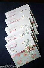 personalised hand made birthday card. Roses, ANY AGE / Friend, Mum, Grandma, etc