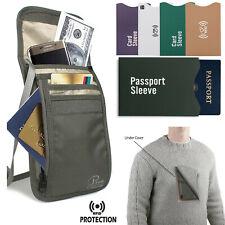 RFID-BLOCKING TRAVEL PASSPORT POUCH HIDDEN WALLET NECK UNISEX MONEY CREDIT CARDS