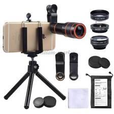 4in1 Kits 12x Zoom Telephoto Lens Fisheye Wide Angle Macro Tripod for iPhone 8 7