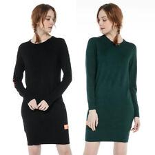 Women's Longline Black Green Sweater Super Soft Pullover Dress Jumper UK Stock