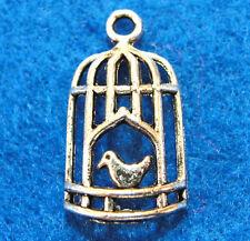 10Pcs. Tibetan Silver BIRDCAGE w/ BIRD Charms Pendants Earring Drops  BD31