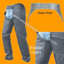 Mens Women Ladies Leather Motorcycle Biker Chaps Elastic Waist Elastic Thigh
