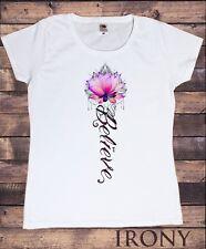 Women's T-Shirt Believe Lotus Flower- India Boho Flowery Zen Print TS1304