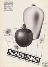 PUBBLICITA' 1938 RICHARD GINORI PORCELLANA CERAMICA VASI PIASTRELLE VERONESI