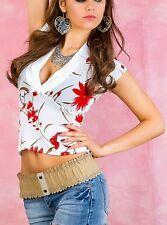 SeXy Miss Flower Satin V-Shirt Bluse weiß rot (32) 34 36 38 40 NEU