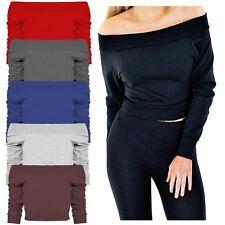 New Ladies Off Shoulder Thermal Knitwear Mini Jumper Sweater Vest Tops 8-14