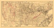 Old Railroad Map - Pennsylvania Railroad - Allen 1893 - 23 x 43.94
