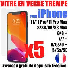 VITRE PROTECTION VERRE TREMPÉ FILM ÉCRAN IPHONE XR XS 11 PRO MAX 8 7 6S +  LOT-5