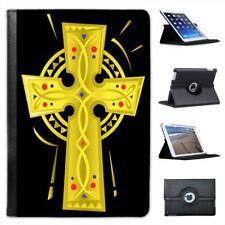 Celtic Decorated Gold Cross Folio Leather Case For iPad Mini & Retina