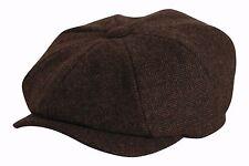 Shelby Brown Herringbone Wool Mix Newsboy Button Top Cap - Gamble & Gunn