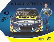 2011 AJ ALLMENDINGER #43 BEST BUY POSTCARD SIGNED