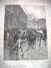 LA MORTE DEL MINISTRO PRINA Borboni Borbonica Epoca Antica Stampa Matania 1889